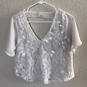 ASTR Sequined Sheer Lace Top